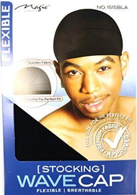 Magic Stocking Wave Cap Pack 2 Caps Black Hair Du Rag